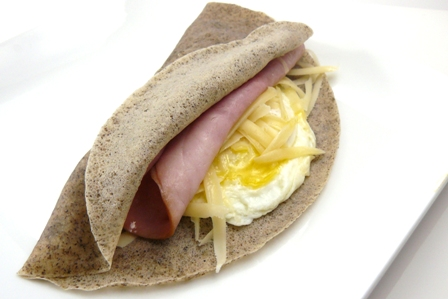 buckwheat crepes with ham, cheese, and egg