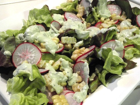 butter lettuce, radishes, and roasted corn salad with green goddess dressing
