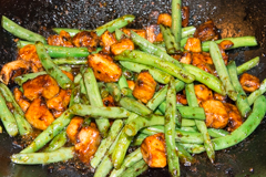 chicken & green beans in plum sauce