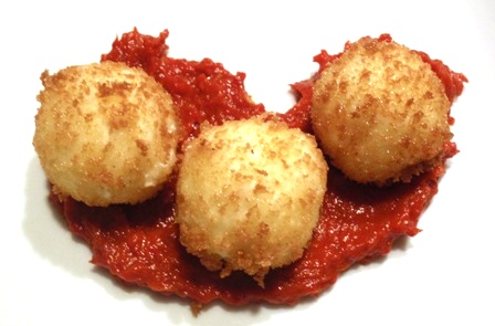 fried goat cheese with caramelized piquillo peppers