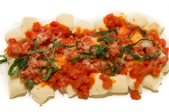 gnudi with tomato butter sauce