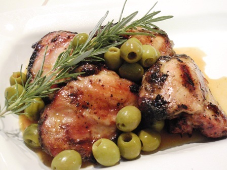 grilled chicken thighs with green olives and sherry vinegar-orange sauce