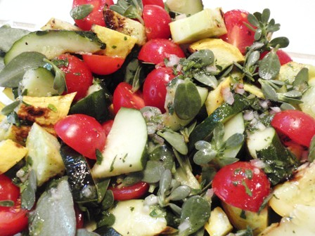 grilled zuccini salad with purslane and tomato