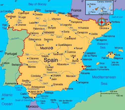 Spain Portugal map