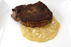 steak with cognac-mustard-cream sauce