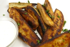 sweet potato wedges with lemongrass creme fraiche