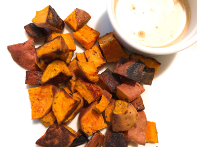 sweet potatoes with honey mustard dip
